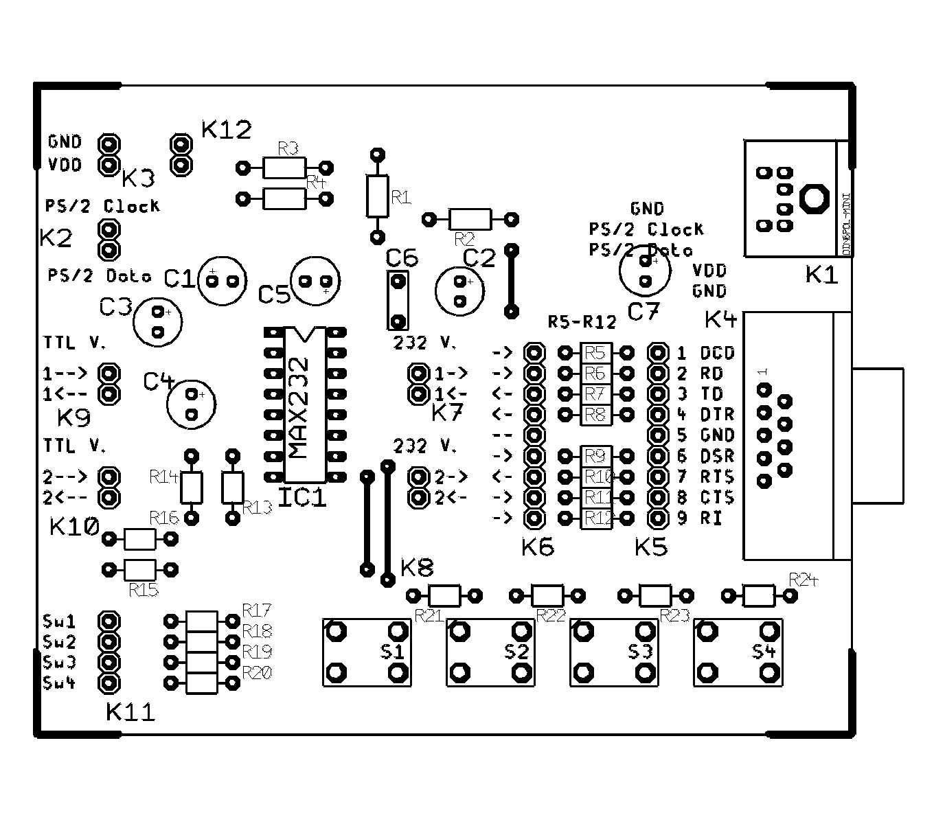 Connecting A Microcontroller To Rs 232 Ports And Ps 2 Devices Rs232 Schematic Copper Side Layout At 300 Dpi 128 Kb